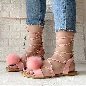 Pink Pom Pom Strappy Sandal